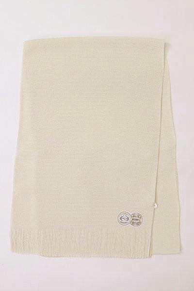 【R-215】正絹 絽縮緬無地帯揚げ 白練色