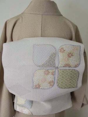 あおき【L-654】西陣製 夏袋帯 紫水晶色地 四弁花文