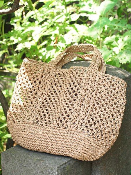 【G-163】熊笹×和紙 手編み手提げ袋・小 (岩手県産・新品)