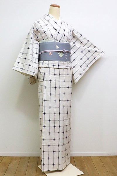 WEB限定【A-1178】単衣紬 白地 格子に十字絣