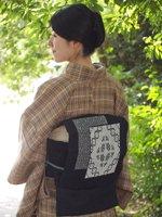 あおき【帯1391-2】津軽こぎん刺し 名古屋帯 藍色×白糸 (N)