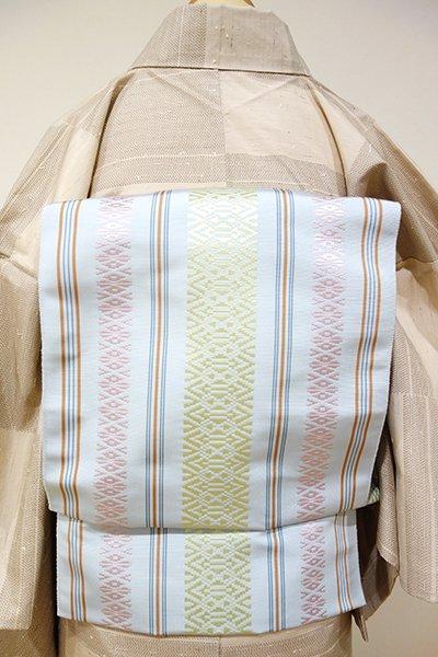 銀座【K-2553】本場筑前博多織八寸名古屋帯 藍白色 献上柄(証紙付)