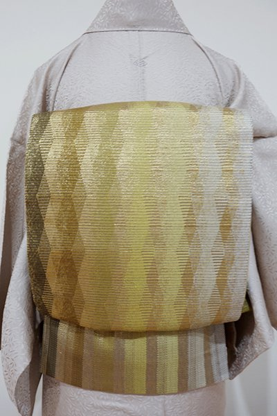 あおき【L-1864】袋帯 枯草×苗色×金色 幾何文