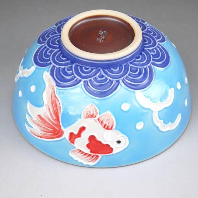 交趾金魚ご飯茶碗 昇峰 大