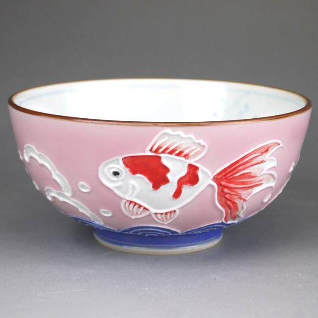 交趾金魚ご飯茶碗 昇峰 小