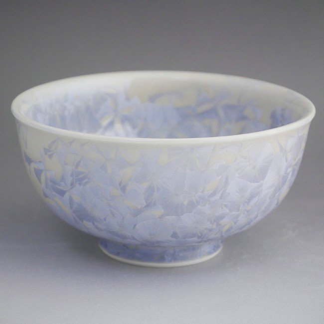 花結晶ご飯茶碗 陶あん 大 銀花