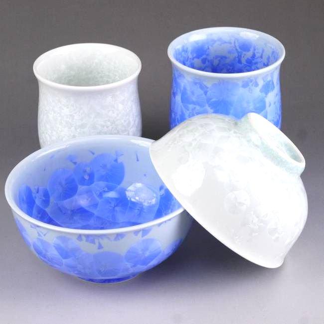 花結晶夫婦湯呑と夫婦茶碗セット 陶あん 青白