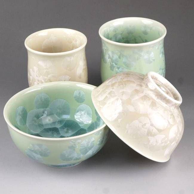 花結晶夫婦湯呑と夫婦茶碗セット 陶あん 緑茶