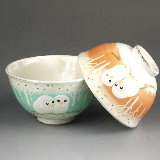 白ふくろう夫婦茶碗 花月