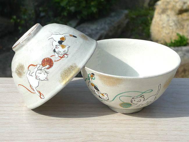 手まりねこ(まり遊び)夫婦茶碗 花月