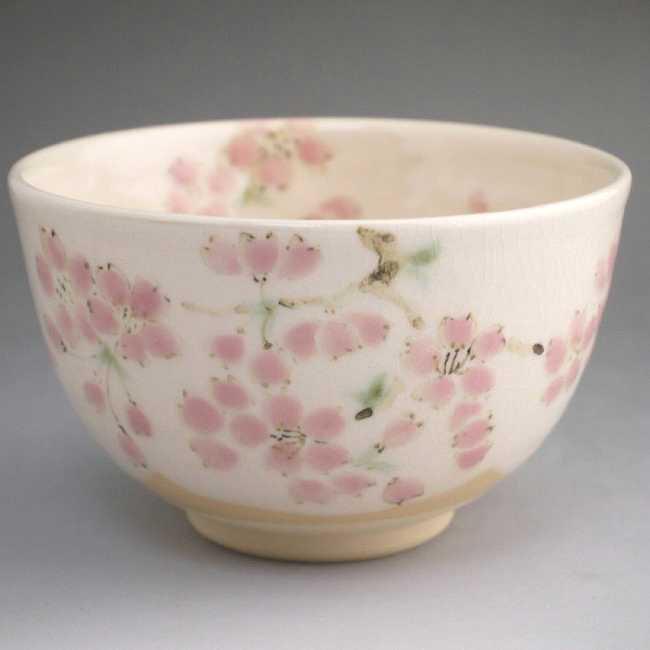 色絵桜抹茶茶碗 陶仙