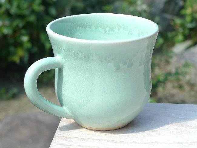 ガラス織部釉マグカップ