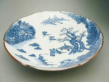 染付輪花山水 菓子鉢