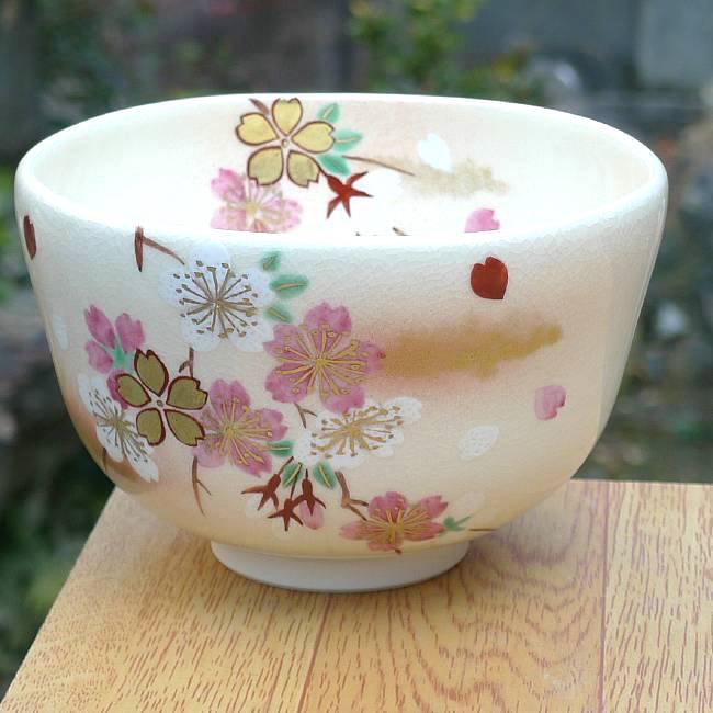 仁清花桜抹茶茶碗 桜谷