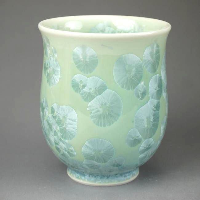 花結晶湯呑 陶あん 緑