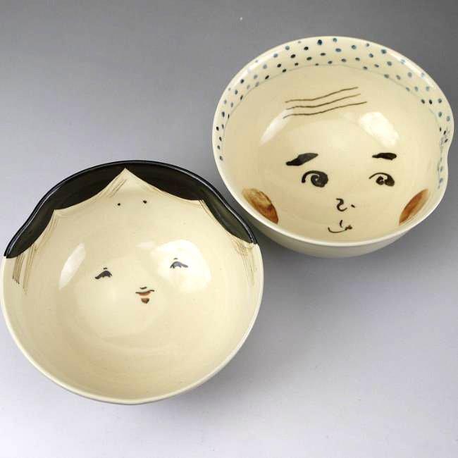 お福ひょっとこ夫婦茶碗 与し三 大