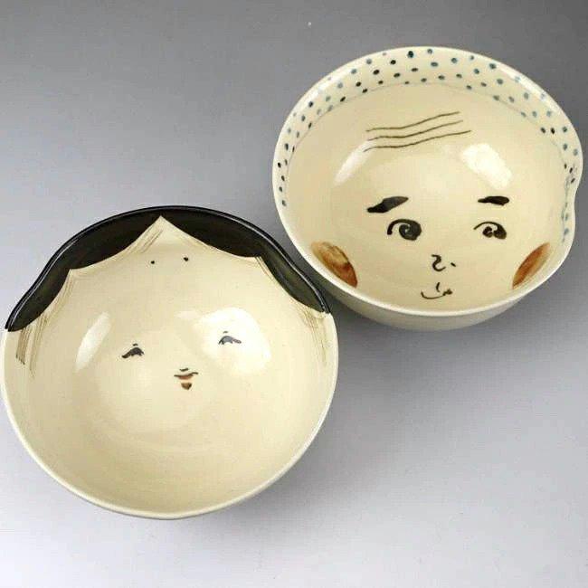 お福ひょっとこ夫婦茶碗 与し三 中