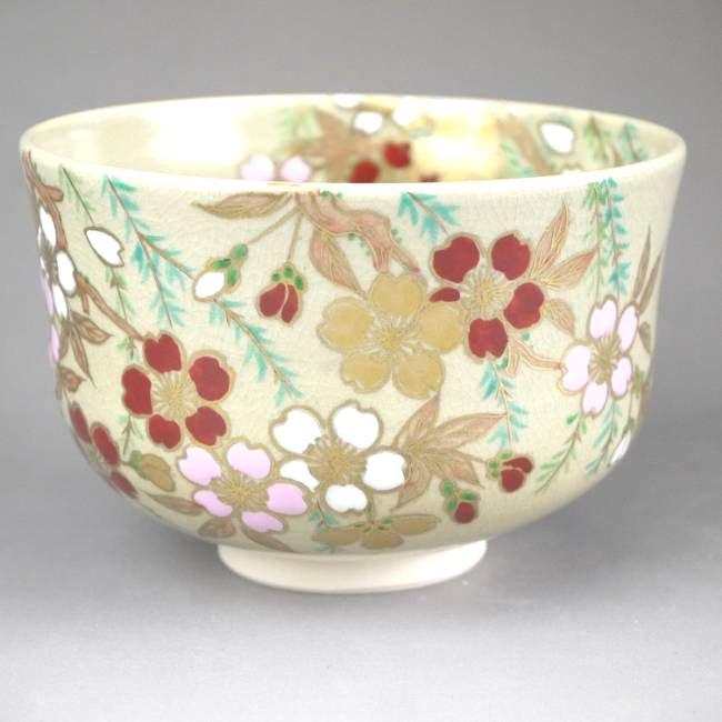 柳に桜抹茶茶碗 如山