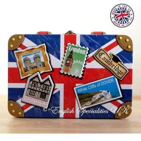 ★Sale!【Churchill's】Union Jack Suitcase TIn / TOFFEEチャーチルズ ユニオンジャック スーツケース缶 トフィー