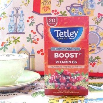 【Tetley】Boost Super Fruits Cranberry & Elderflower Tea<br>テトリー スーパーフルーツ クランベリー&エルダーフラワーティー