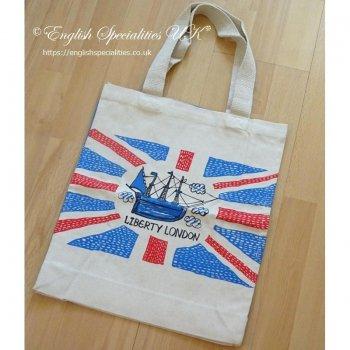 【Liberty】Map Print Tote Bag<br>リバティー 英国マッププリント コットントート