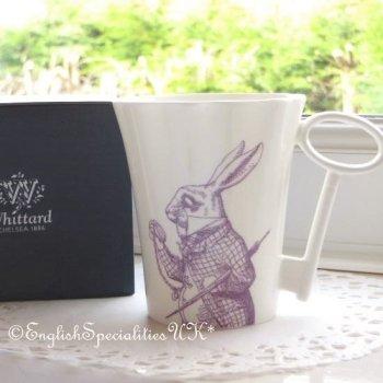 【Whittard】ALICE IN WONDERLAND Rabbit  Key-Handle Mug PURPLE<br>ウィッタード 不思議の国のアリス 白ウサギ キーハンドルマグ パープル
