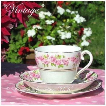 ★VINTAGE★Adderley Pink Rose Pattern Trio <br>*ヴィンテージ* アダレイ ピンクローズパターントリオ