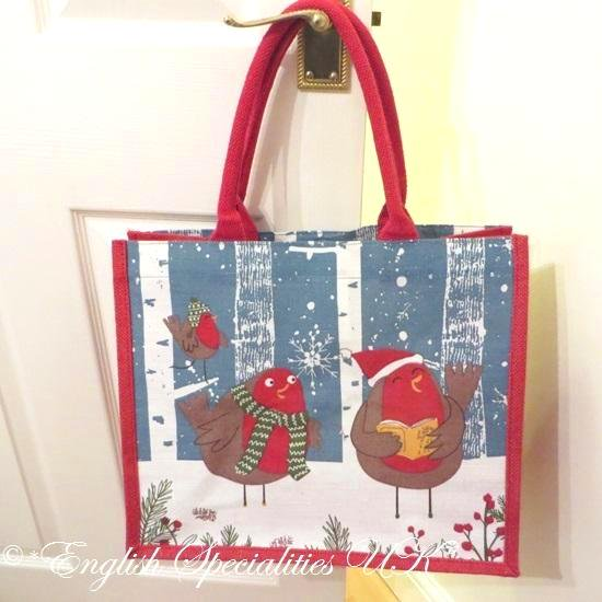 【TESCO】Jute Eco Bag: Christmas Robinテスコ ジュート エコバッグ クリスマス ロビン(大)