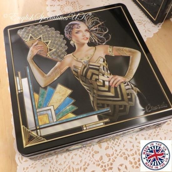 ★Sale!【Churchill's】Olivia Art Deco  Chocolate Chip Shortbreadチャーチルズ オリビア アールデコ缶  チョコチップショートブレ…