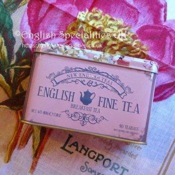 【New English Teas】English Fine Tea  Breakfast  Teabag PINK <br>ニューイングリッシュティーズ ファインティー ブレックファースト ピンク缶