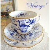 【Coalport】*Vintage*Cairo Blue & White Trio<br>コールポート カイロ ブルー&ホワイト トリオ (観賞用)(1920年代)