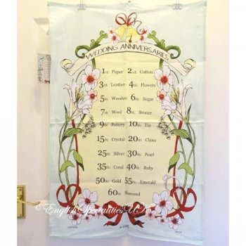 【Samuel Lamont】Wedding Anniversary Cotton Tea Towel<br>サミュエルラモント コットンティータオル:ウエディングアニバーサリー