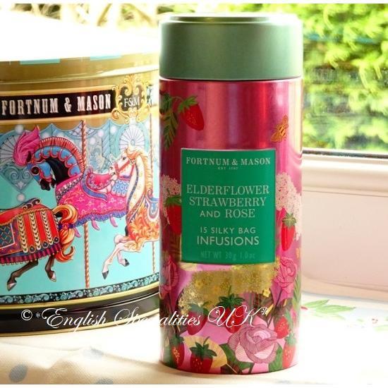 【Fortnum & Maison】Elderflower, Strawberry & Rose Infusion Tinエルダーフラワー ストロベリー ローズ インフュージョン