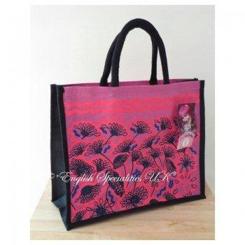 【ASDA】Tickled Pink Jute Eco Bag Pink Flower<br>アスダ ティックル ピンク エコバッグ ピンクフラワー