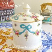 <img class='new_mark_img1' src='https://img.shop-pro.jp/img/new/icons47.gif' style='border:none;display:inline;margin:0px;padding:0px;width:auto;' />【Crown Staffordshire】VINTAGE Blue Ribbon Jam Pot <br>★訳アリ★クラウンスタッフォードシャー *ヴィンテージ*  ブルーリボン ジャムポット