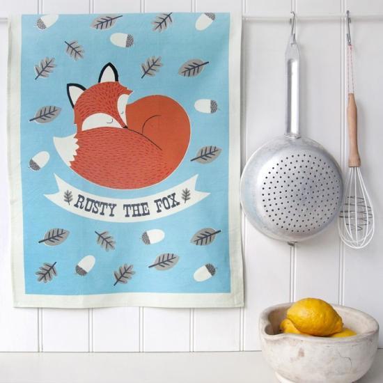 【dotcomgiftshop】Rusty The Fox Cotton Tea Towel In Gift Boxドットコムギフトショップ  フォックス ティータオル(ボックス入…