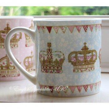 【QUEENS】Crown Chinz Mug Blue <br>クイーンズ クラウンチンツ マグカップ(ブルー)