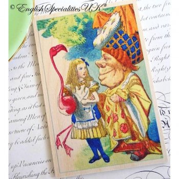 ALICE IN WONDERLAND Alice and Flamingo Wooden Postcard<br>不思議の国のアリス アリス&フラミンゴ*木のポストカード*