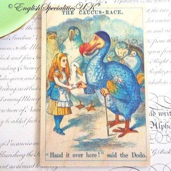 ALICE IN WONDERLAND The Caucus Race Wooden Postcard<br>不思議の国のアリス コーカスレース*木のポストカード*