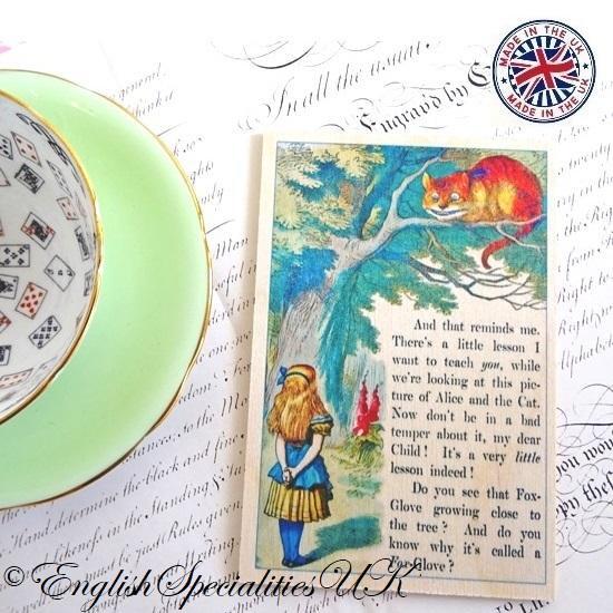 ALICE IN WONDERLAND The Cheschire Cat Wooden Postcard不思議の国のアリス チェシャ猫*木のポストカード*