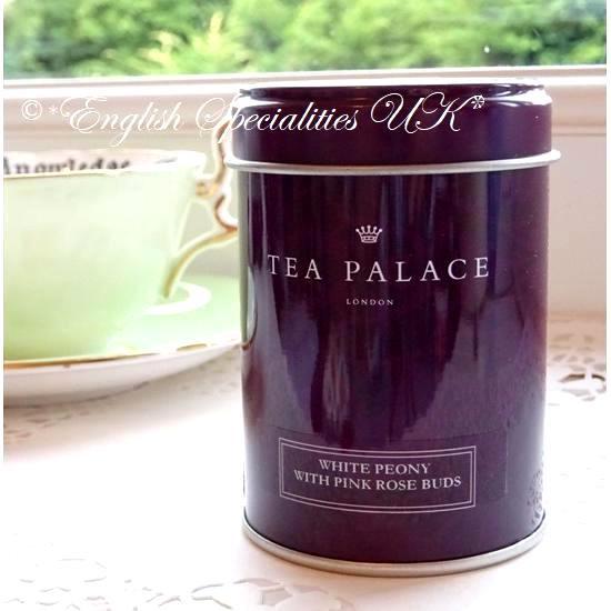 【TEA PALACE】White Peony Pink Rosebuds Leaf Tea Small Caddyティーパレス ホワイトピオニー ピンクローズ リーフティー(スモール缶)