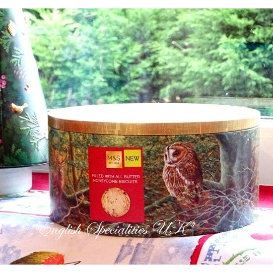 【M&S】Christmas Forest Tin Butter Honeycomb Biscuitsマークス&スペンサー クリスマスフォレスト缶 バターハニーコームビスケ…
