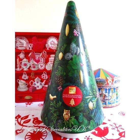 【M&S】Shortbread Musical Tree Tinマークス&スペンサー クリスマスツリーオルゴール缶/クリスマスツリーショートブレッド