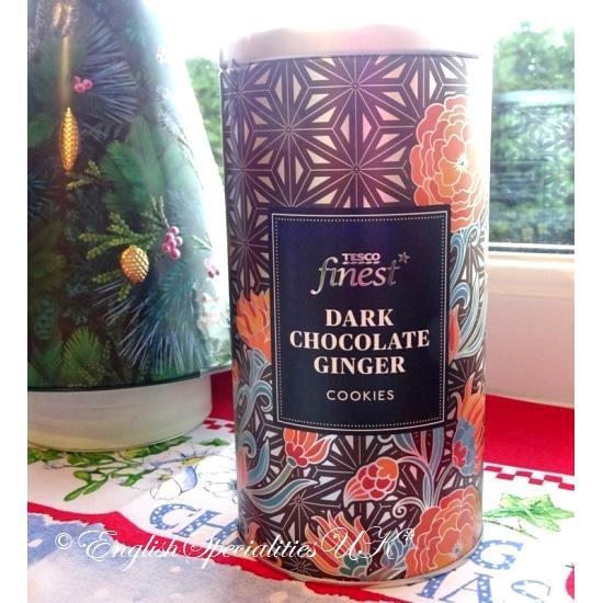 【TESCO】Dark Chocolate Ginger Cookies Tinテスコ  ダークチョコレートジンジャークッキー缶