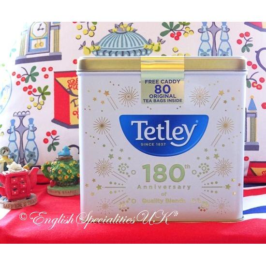 【Tetley】180th Anniversary Caddy & 80 Teabags- WHITEテトリー180周年記念キャディー&テトリー 紅茶80ティーバッグ ホワイト缶