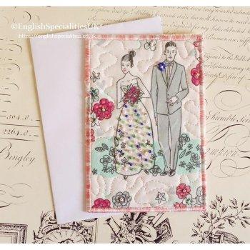 *ハンドメイド* 布のポストカード - ウエディング<br> *HANDMADE* Fabric Post Card  - Wedding