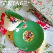 【パラゴン】 タペストリーローズ フラワーハンドル デュオ グリーン1939〜1949年<br>PARAGON Vintage Tapestry Rose Handle C&S Green