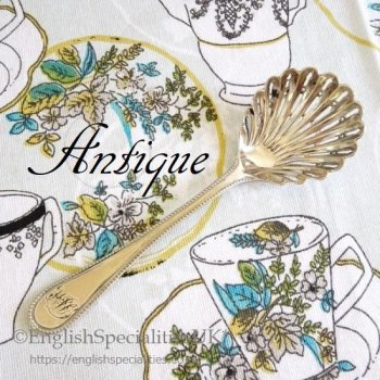 *アンティーク*シルバープレート シュガーシフタースプーン (1820-1930年)<br>S & H Silver Plated Sugar Sifter Spoon