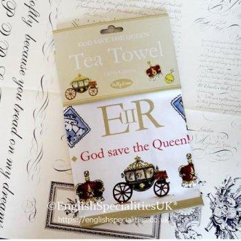【Milly Green】God Save The Queen  Tea Towel<br>ミリーグリーン ゴッド・セイヴ・ザ・クイーンティータオル