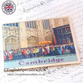 CAMBRIDGE king's Colledge Chapel Wooden Postcard<br>ケンブリッジ キングスカレッジチャペル*木のポストカード*